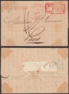 """BELGIQUE ANVERS 1834 VERS PARIS GRIFFE """"PAR ESTAFETTE""""  (DD) DC-2137 - 1830-1849 (Belgique Indépendante)"""