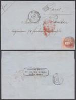 BELGIQUE COB 12A MARGE 2 VOISINS  SUR  LETTRE  OBL 103 St GHISLAIN 20/08/1859 VERS PARIS  (DD) DC-2139 - 1858-1862 Medaillons (9/12)