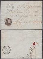 """BELGIQUE COB 10A MARGE  SUR  LETTRE  OBL 8 BARRES """"GOSSELIES-COURCELLES"""" 27/08/1860  (DD) DC-2140 - 1858-1862 Medallions (9/12)"""