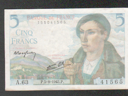 Billet 5 Francs Type Berger, P.5=8=1943.P, Alphabet A.63 N° 41565 - 1871-1952 Antichi Franchi Circolanti Nel XX Secolo