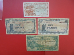 "LOT 4 BILLETS ""BURUNDI-RUANDA-URUNDI"" NEUFS Ou CIRCULER - Coins & Banknotes"