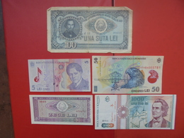 """LOT 5 BILLETS """"ROUMANIE"""" NEUFS Ou CIRCULER - Coins & Banknotes"""