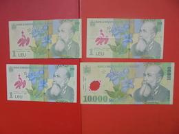 """LOT 4 BILLETS """"ROUMANIE"""" NEUFS Ou CIRCULER - Coins & Banknotes"""