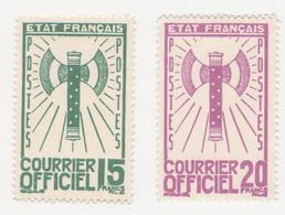 "Fra705 Francia Servizio ""Francisque"" Courrier Officiel, Service | N.13 - 10 Fr. N.14 - 15 Fr N.15 - 20 Fr | 1943 - Mint/Hinged"