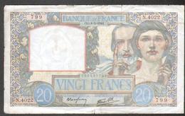 Billet 20 Francs Type Science Et Travail, OO.8=5=1941, Alphabet N4022 N°799 - 1871-1952 Anciens Francs Circulés Au XXème