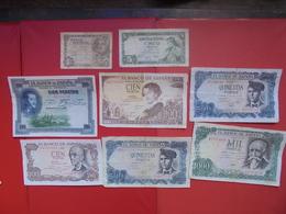 "LOT 8 BILLETS ""ESPAGNE"" NEUFS Ou CIRCULER - Coins & Banknotes"