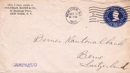 Lettre New York 1906 Goldman Sachs & Co Exange Place Switzerland Bern Finance Banque Bank - 1901-20