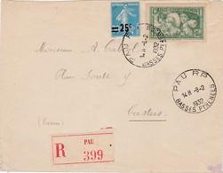 N° 217 N° 269 S / Env Recommandée T.P. Ob Pau RP 8 2 1932 Pour Castres - Marcophilie (Lettres)