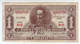 BOLIVIE - Billet De 1 Boliviano. 20.07.28. Pick:128. SUP+ - Bolivia