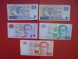 "LOT 5 BILLETS ""SINGAPORE"" NEUFS Ou CIRCULER - Coins & Banknotes"