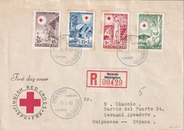 FINLANDE 1949 LETTRE RECOMMANDEE DE HESLINKI AVEC CACHET ARRIVEE  FDC  CROIX ROUGE - Finlande