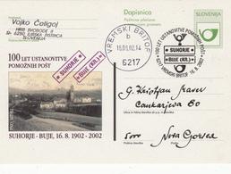 DOPISNICA DOTISK 100 LET USTANOVITVE POMOŽNIH POŠT SUHORJE BUJE 2002 VREMSKI BRITOF   POSTAL STATIONERY - Slovenia