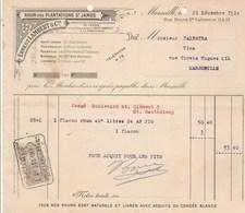 Facture Illustrée 21/12/1914 E LAMBERT Rhum Des Plantations St James MARSEILLE - Balestra - Francia