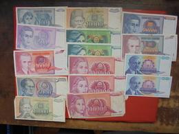 "LOT 15 BILLETS ""YOUGOSLAVIE"" NEUFS Ou CIRCULER - Monnaies & Billets"