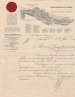 Double Facture Illustrée 29/11/1910 E LAMBERT Rhum Des Plantations St James MARSEILLE - Todorovits Belgrade Serbie - France