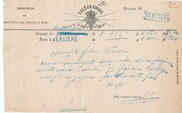 507/28 - Formule Ancienne De TELEGRAMME 1874 EINKIRCHEN - 2 Griffes Encadrée Et Non Encadrée Bleues De VERVIERS - Télégraphes