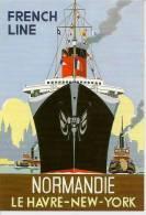 M5045 - FRENCH LINE - NORMANDIE - LE HAVRE-NEW YORK - DESSIN : COLIN ASHFORD - Autres Illustrateurs