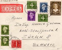 11 VII1949  Expresbrief Van Rotterdam Naar Zürich - Periode 1891-1948 (Wilhelmina)