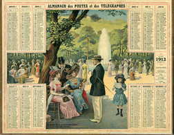 Almanach Postes Et Télégraphe 1912   (au Jardin Public) - Calendriers