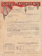Facture Illustrée Lettre Tarifs FOREST Ex Gazay COCO MARSEILLAIS Boisson Rafraichissante Hygiènique Réglisse MARSEILLE - France