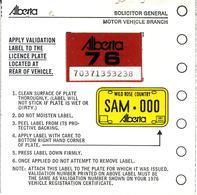 - CANADA - Alberta - License Plate Sticker 1976 - Plaque D'immatriculation - - Plaques D'immatriculation