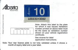 - CANADA - Alberta - License Plate Sticker 2010 - Plaque D'immatriculation - - Placas De Matriculación
