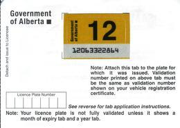 - CANADA - Alberta - License Plate Sticker 2012 - Plaque D'immatriculation - - Plaques D'immatriculation
