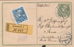 Autriche Entier Postal Recommandé Karlsbad Pour L'Allemagne 1911 - Entiers Postaux