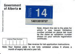 - CANADA - Alberta - License Plate Sticker 2014 - Plaque D'immatriculation - - Plaques D'immatriculation
