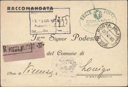 Guerre 40 CP FM Italie Posta Militare 206 Division Alpine Pisteria Recommandé 24 7 40 Cachet + Carte 11 Régiment Alpin - Storia Postale