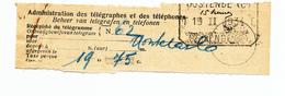 511/28 -  Dossier 2 Récépissés Télégramme + Mandat Versement Télégraphique OOSTENDE C 1934 Vers MONTE CARLO - Télégraphes