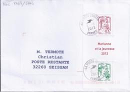 MARIANNE DE CHIAPPA  N°4767/4774 BLOC  SUR LETTRE DE 2013 POUR POSTE RESTANTE - 2013-... Marianne De Ciappa-Kawena