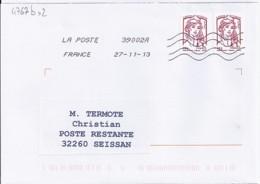 MARIANNE DE CHIAPPA  N°4767b X 2  SUR LETTRE DE 2013 POUR POSTE RESTANTE - 2013-... Marianne De Ciappa-Kawena