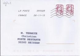 MARIANNE DE CHIAPPA  N°4767e X 2  SUR LETTRE DE 2013 POUR POSTE RESTANTE - 2013-... Marianne De Ciappa-Kawena