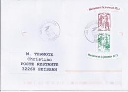 MARIANNE DE CHIAPPA  N°4774adh.+ 4767adh.   SUR LETTRE  DE 2013 Pour Poste Restante - 2013-... Marianne De Ciappa-Kawena