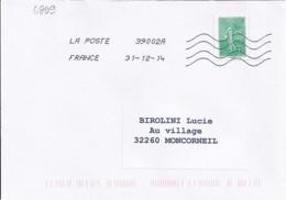 MARIANNE DE CHIAPPA N° 4909   SUR LETTRE DU 31.12.14 / DERNIER JOUR TARIF - 2013-... Marianne De Ciappa-Kawena