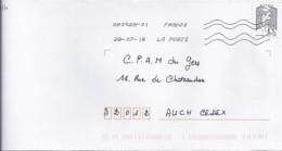 MARIANNE DE CHIAPPA N°5014  SUR LETTRE DE 2018 - 2013-... Marianne De Ciappa-Kawena