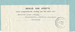 512/28 -  BEWIJS Van AFGIFTE Aangetekende Zending S/ Document Gemeentebestuur OOSTENDE 1938 - Documents Of Postal Services