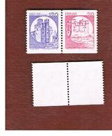 ITALIA  - UNIF. 1528.1530 - 1980 CASTELLI X DISTRIB. AUT. COPPIA 30 + 170 SE-TENANT  - NUOVI **(MINT) - 1971-80: Mint/hinged