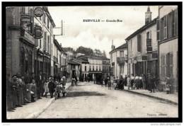 CPA ANCIENNE FRANCE- EURVILLE (52)-  GRANDE RUE AVEC BELLE ANIMATION GROS PLAN- COMMERCES- ENSEIGNES - Frankreich