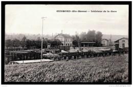 CPA ANCIENNE FRANCE-GUDMOND (52)- INTERIEUR DE LA GARE- WAGONS CHARGÉS DE BOIS- GROS PLAN - France