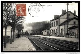 CPA ANCIENNE FRANCE- EURVILLE-BIENVILLE (52)- LA GARE EN HIVER- COTÉ INTERIEUR A L'ARRIVÉE DU VAPEUR- ANIMATION - Frankreich