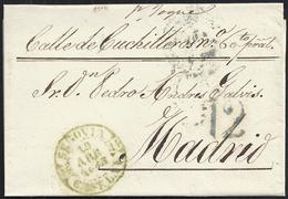 """1843. SEGOVIA A MADRID. FECHADOR Nº 11 VERDE DE SEGOVIA. PORTEO """"12"""" CUARTOS AZUL DE MADRID. PRECIOSA ENVUELTA. - ...-1850 Prefilatelia"""