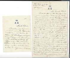 MEXIQUE MEXICO Dossier  Roland Du Luart 5 è Hussards  Autographe 1864 + 2 Lettres Récit Combat Etla 20 P.( 3 è Zouaves ) - Autógrafos