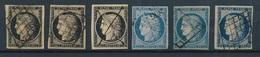 CM-91: FRANCE: Lot  Avec N°3(3)-4(3) - 1849-1850 Ceres
