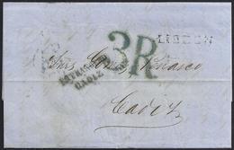"1856. LISBOA A CÁDIZ. MARCA LINEAL ""LISBON"" NEGRO. PORTEO 3R REALES AZUL.""ESTRANGERO/CADIZ"" NEGRO. CUÑO FRANQUEO INSUF. - ...-1853 Prefilatelia"