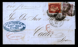 USA. USA-GREAT BRITAIN-SPAIN. 1865, April, 11th. Entire Letter From New York To Cadiz, Spain Carried Under Cover And Mai - Unclassified
