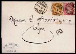 SWITZERLAND. SWITZERLAND. 1873, January 29th. Cover To Lyon At 30c Rate Franked By 1867 10c Rose And 1862-63 20c Orange - Switzerland