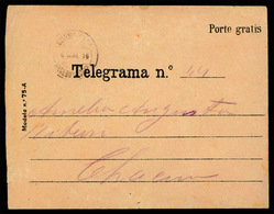 """PORTUGAL. PORTUGAL. 1916, May 6th. Portuguese Telegram Envelope With Stationery Number """"Modelo N° 75ª"""" Printed At Left A - Portugal"""