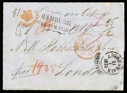 "DENMARK. DENMARK-GERMANY-GB. 1855 (April 14). Registered Cover To London Endorsed ""Via Ostende"" With Despatch Of Scarce - Danemark"